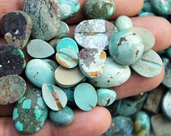 Tibetan Turquoise Wholesale Cabochon, Himalayan Natural Turquoise Gemstone, Bulk Turquoise Healing Stones for Rings, Pendants, Necklace