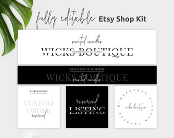 Etsy Banner Set Geometric Etsy Banner Cover Photo Minimalist Etsy Banner Header Modern Etsy Shop Banner Kit
