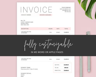 Apple Pages Invoice Etsy
