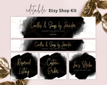 Editable Etsy Cover and Avatar Template, Etsy Store Branding Set, DIY Etsy Cover Photo, Black & Gold Banners, Watercolor, Instant, BW-001