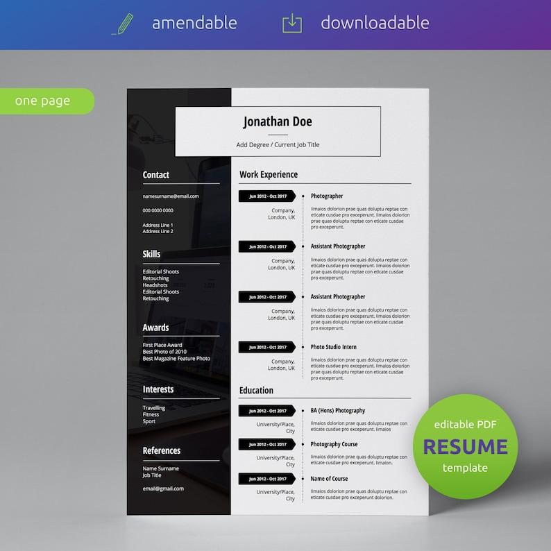 Single Page CV Resume Resume Template Curriculum Vitae Business Resume Template DIY Resume Modern Resume Template CV Template