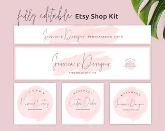 Etsy Branding Kit, Etsy Shop Banner Templates, Editable Esty Header, DIY Etsy Cover Photo, DIY Etsy Banner Set Watercolor, Instant, PW-001