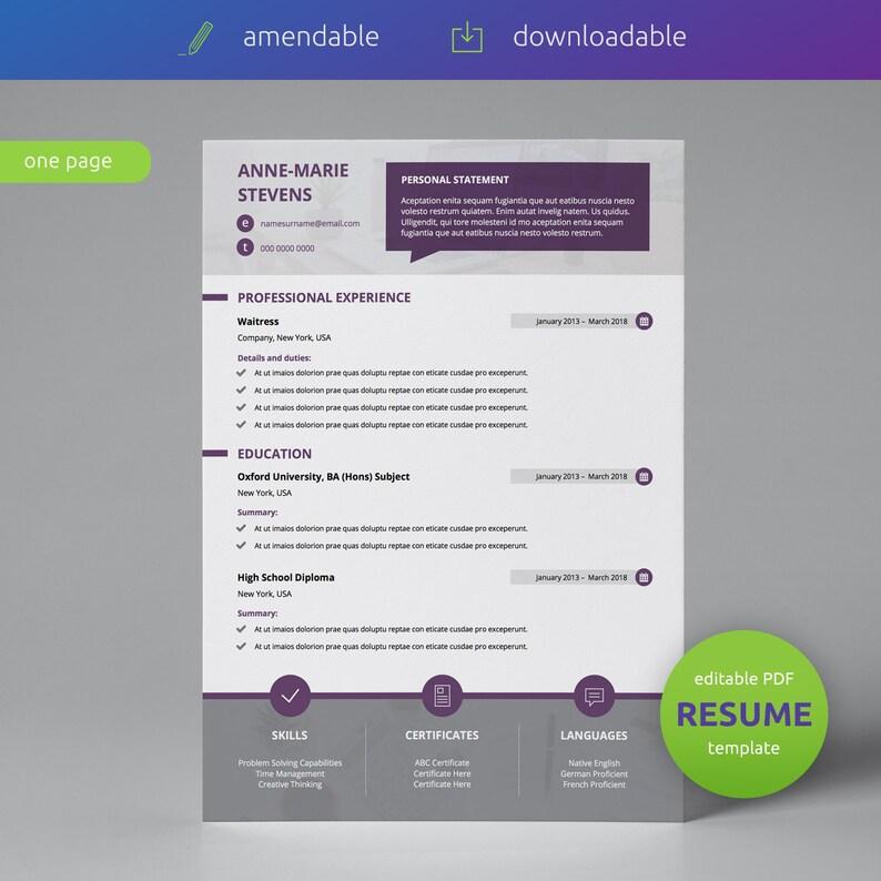 Curriculum Vitae Editable PDF CV Creative Resume Template CV Template Single Page Modern Resume Template Resume Template
