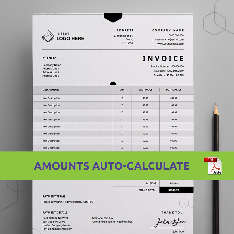 Editable Order Form Template | Printable Order Form | Instant Download |  Invoice Template | Printable Invoice Form | Custom Business Invoice