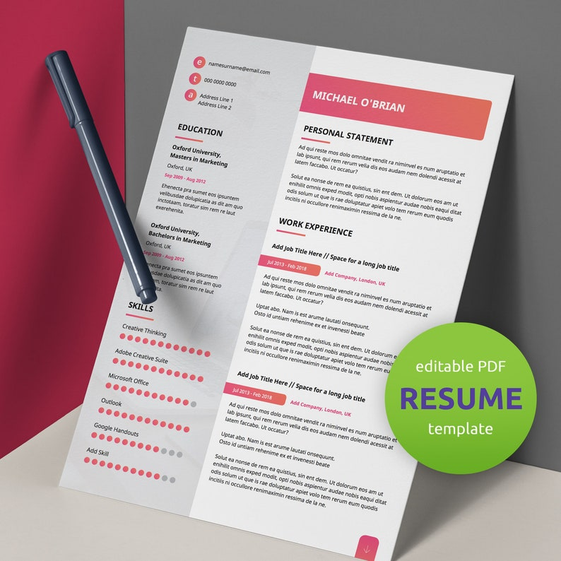 Modern Resume Template | CV Template | Professional Resume | Editable PDF |  Instant Download | Modern Resume Design | Cover Letter | CV