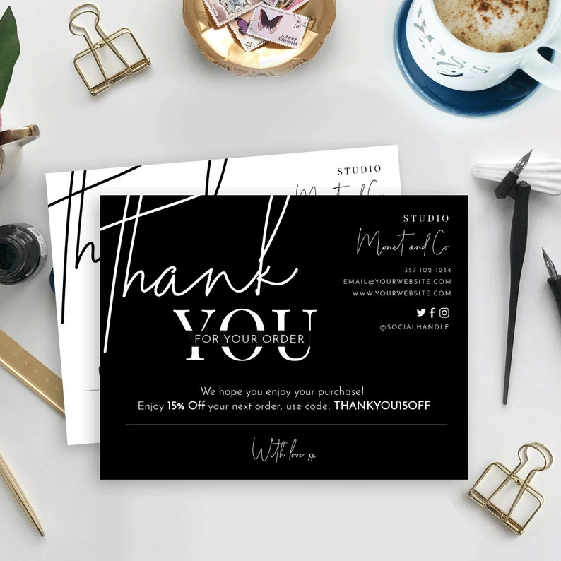 minimalist thank you for your order card template thank