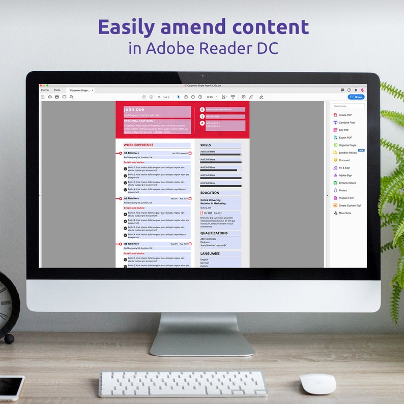 Single Page CV CV Curriculum Vitae Instant Download Modern Resume Template Creative Resume Template CV Design Resume Template