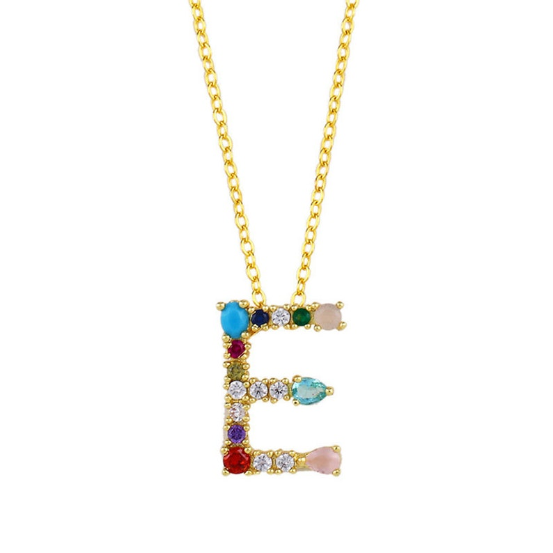 Cubic Zirconia Beaded Pendant Necklace Initial Pendant Necklace Letter Dainty Necklace Initial Jewelry Letter Pendant 18k Gold Plated