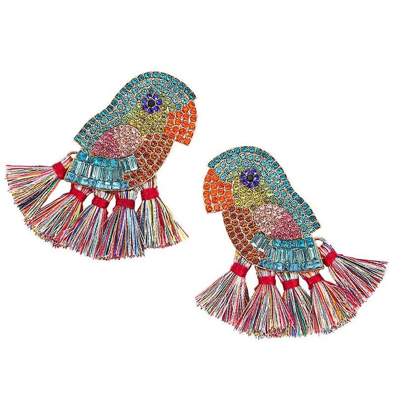For Bird Earrings Lovers. Statement Parrot Crystal Bead Tassel Earrings