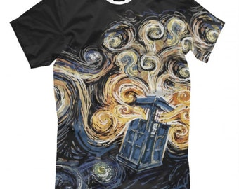 441706031 Tardis Doctor Who x Van Gogh Starry Night T-shirt Men's Women's All sizes