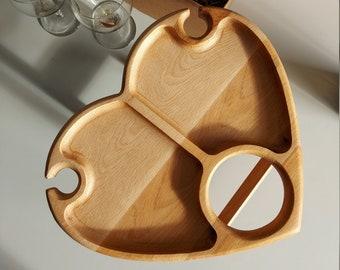 Outdoor wine table - Wine lover gift -wood serving platter-wine bottle holder-wooden snack plate-wine holder table-Gift for her-Gift for him