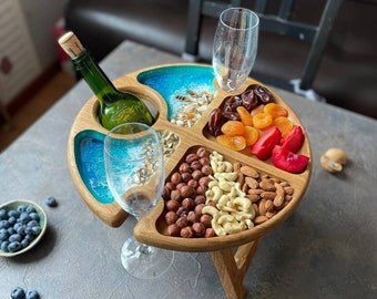Wine table portable -Folding wine table -Wine table with Folding Legs -table for picnic - outdoor wine table/ wine glass holder -Wine in Bed