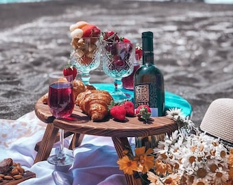 Wine Holder Picnic Table, Picnic Table with Drink Holder, Round Serving Table, Gift Beach Lover, Gift For Girlfriend, Best Friend Birthday