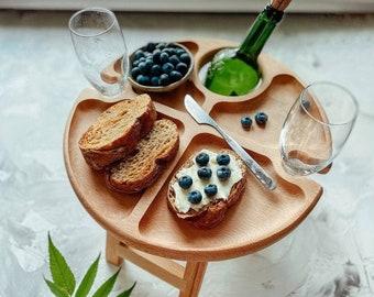 Outdoor wine table - wood serving platter - wine bottle holder - wine holder table - Folding picnic table - Folding wine table -picnic table