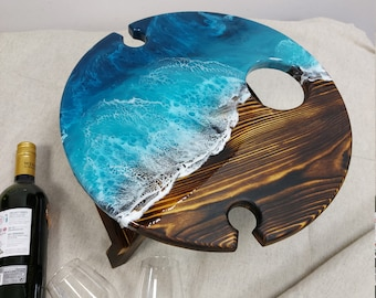 NEW Beach Outdoor wine table, Folding wine table, Resin Ocean Art, wine table with epoxy resin, epoxy resin, Round Ocean Portable Wine Table