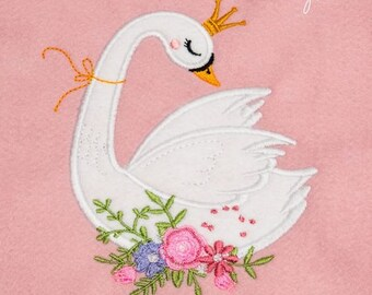 2 pairs Beautiful Swan Applique Ivory Cotton Round Flower Embroidery