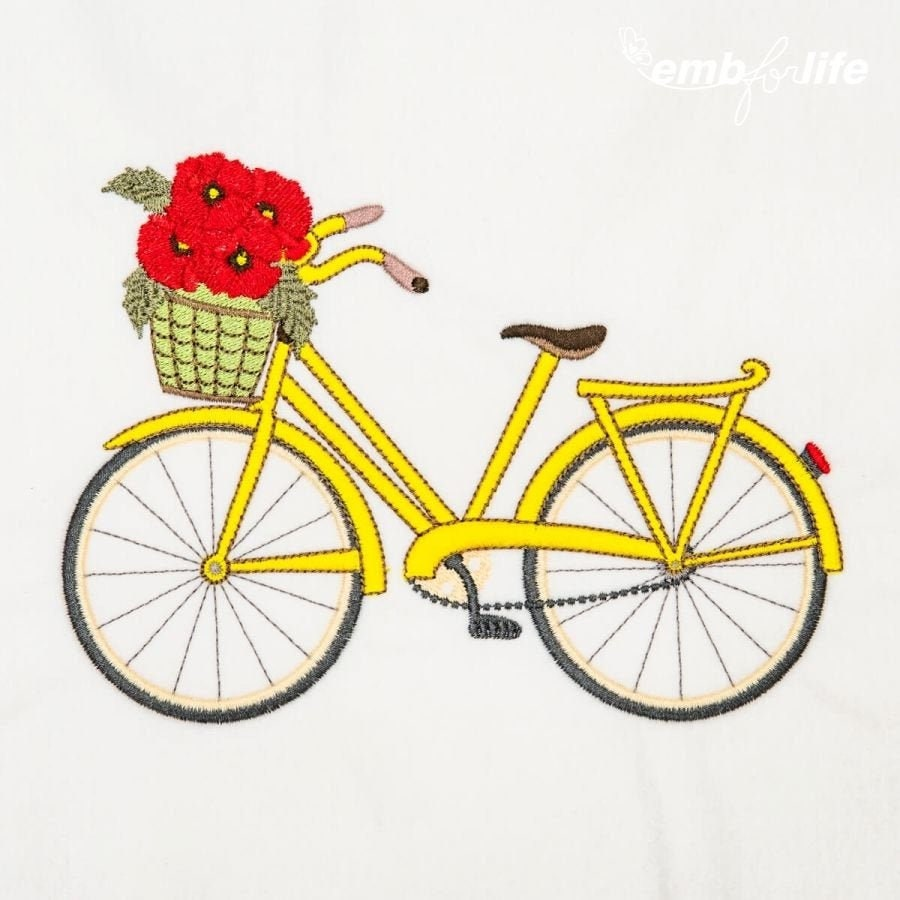 Decorative Bike Embroidery Design 5 Different Sizes for Instant Download