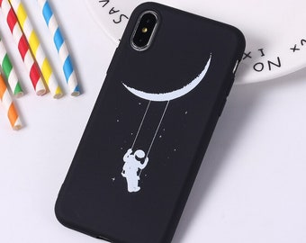 Vintage Fashion Cartoon Star Moon Phone Case For Iphone 6 6s 7 8 Plus X Matte Hard Plastic Cosmos Space Back Cover Coque Buy Now Phone Bags & Cases