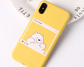 8b72ff878f Polar Ice Bear Cute Cartoon Animals Kawaii Panda Pattern Yellow Cases Soft  Candy Case Coque For iPhone 6 6S 5S SE 8 8Plus X XS Max 7 7Plus