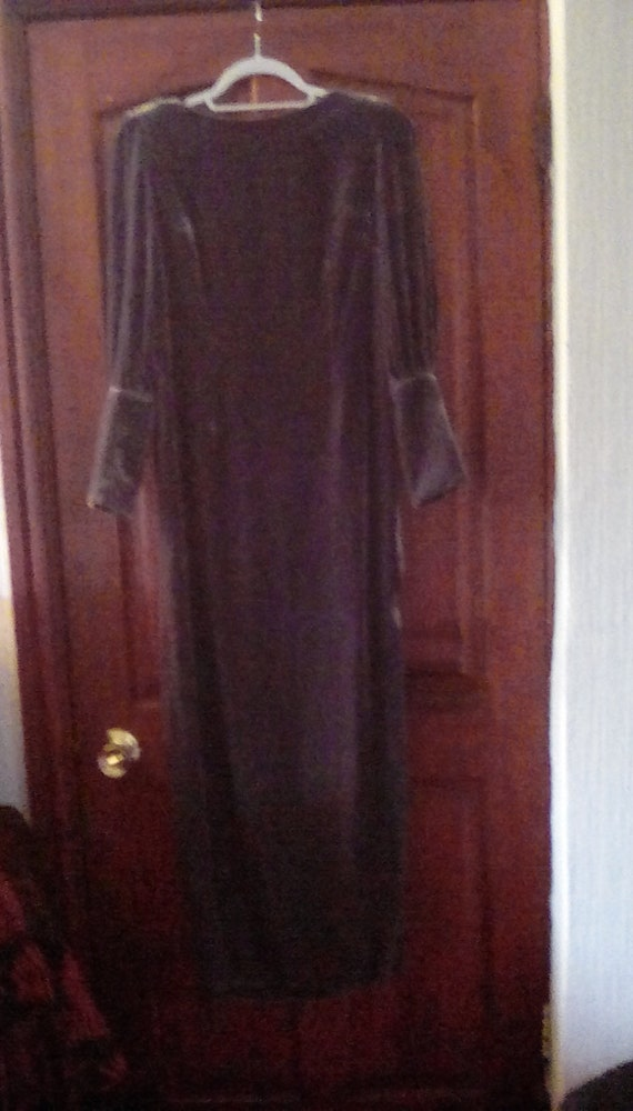 A beautiful grey velvet evening dress by Biba size