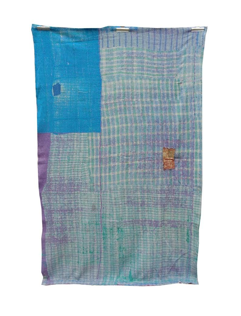 Vintage Reversible Kantha Quilt Cotton Stitch Bedspread Throw Quilt over Handmade Indian Blanket