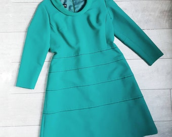 Vintage Peggy French Couture 1960s shift dress. Outstanding mint condition 60s dress in turquoise green. Mod girl dress.