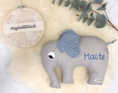 Cuddly elephant, pillow, elephant, grey-blue, with name