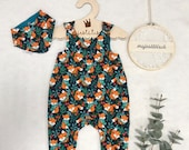 Romper, Baby Pants, Sweat, Size 50-74, Dark Blue Foxes