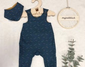 Romper, Baby Pants, Jersey, Size 50-74, Dark Blue Triangles