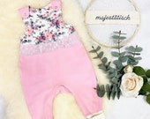Romper, baby pants, white-pink flowers, size 74
