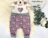 Romper, Baby Pants, Jersey, Heart Embroidery, Ruffle