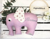 Cuddly elephant, pillow, elephant, pink, with name