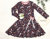 "Dress with plate skirt ""MaryLou"", made of summer sweat with flowers, size 74-164"