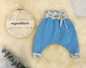 Pump pants, light blue, butterflies and bow, size 62