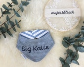 Neck scarf with embroidered name, bib to turn, blue,grey,white
