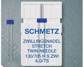 Schmetz Double Sewing Machine Needle 130/705 Stretch 75/4.0 mm