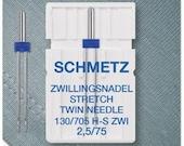 Schmetz Double Sewing Machine Needle 130/705 Stretch 75/2.5 mm