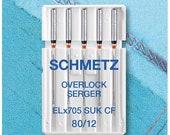 Schmetz Sewing Machine Needles ELX705 Overlock Jersey 80