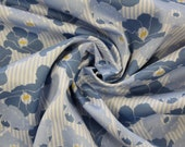 Milli Blu's cotton satin, light blue striped, blue flowers