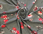 Viscose jersey, black, white spotted, red flowers, flower vine
