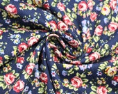 Cotton, dark blue, flowered
