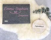 "Testimony folder ""Emma Sophie"" made of felt with embroidery"