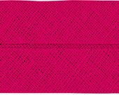 VENO cotton slanted ribbon, pink, folded 60/30, width 3 cm, pre-folded from 6 cm to 3 cm