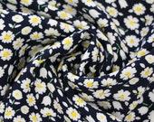 Viscose, dark blue with daisies