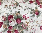 Canvas, decorative fabric, 2.80 m wide, natural white, large flowers roses