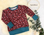 long sleeve shirt, longshirt red with flowers,