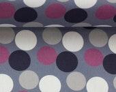 Cotton, kim, grey, dots in berry, dark blue
