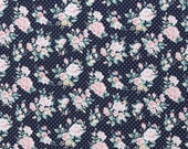 Jersey, dark blue, old pink, dots and roses