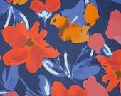 Cotton Lasthan, Rock Fabric, Hilco, Azalea, Dark Blue, Flowers