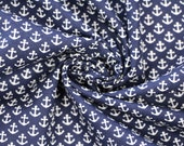 Cotton, dark blue, white little anchors